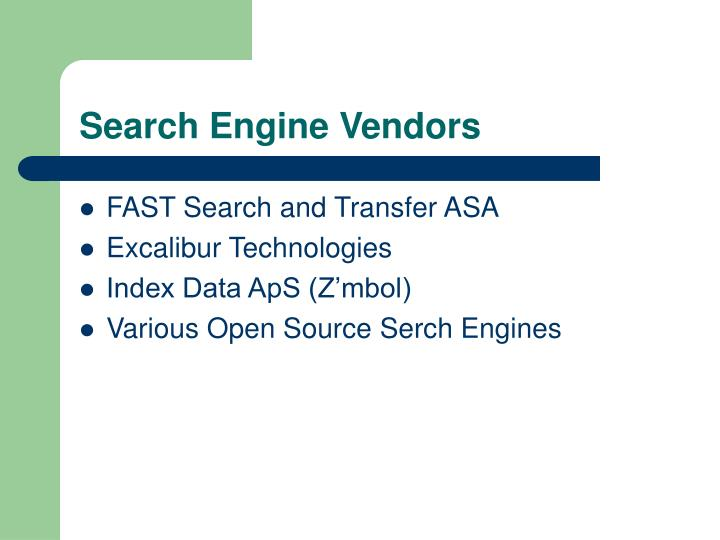 Search Engine Vendors