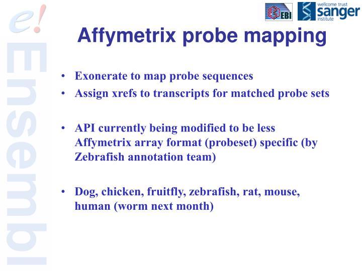 Affymetrix probe mapping