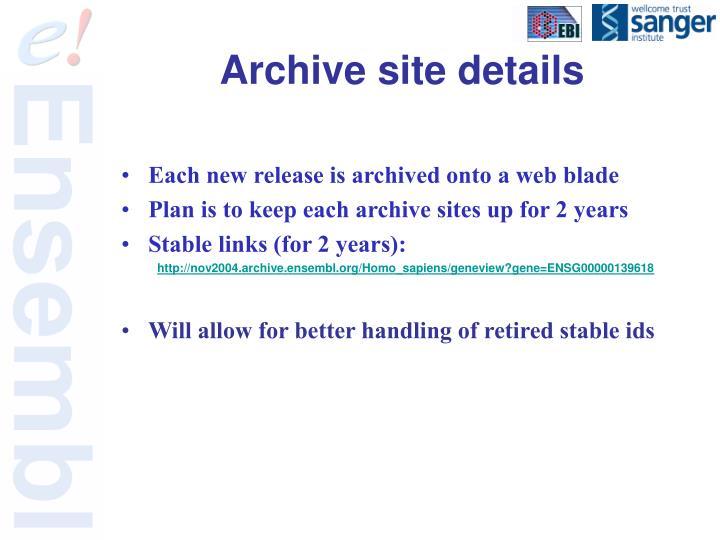 Archive site details