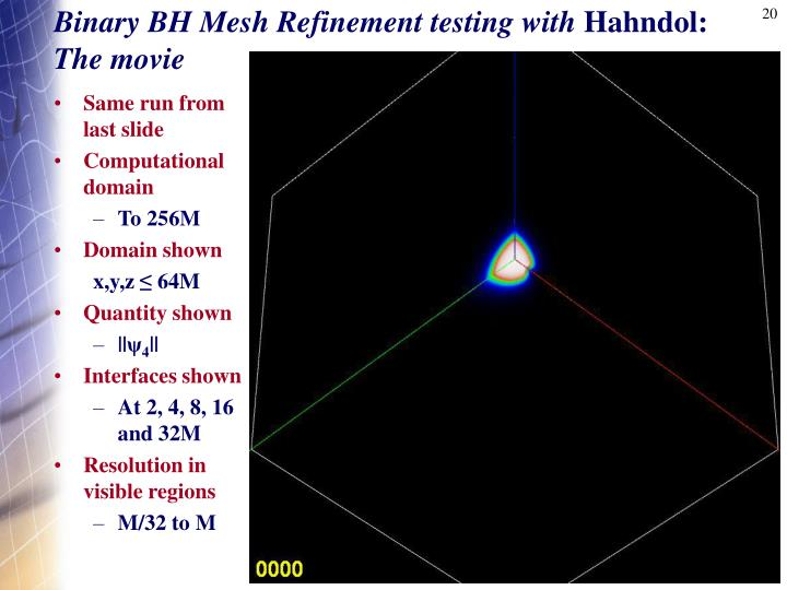 Binary BH Mesh Refinement testing with