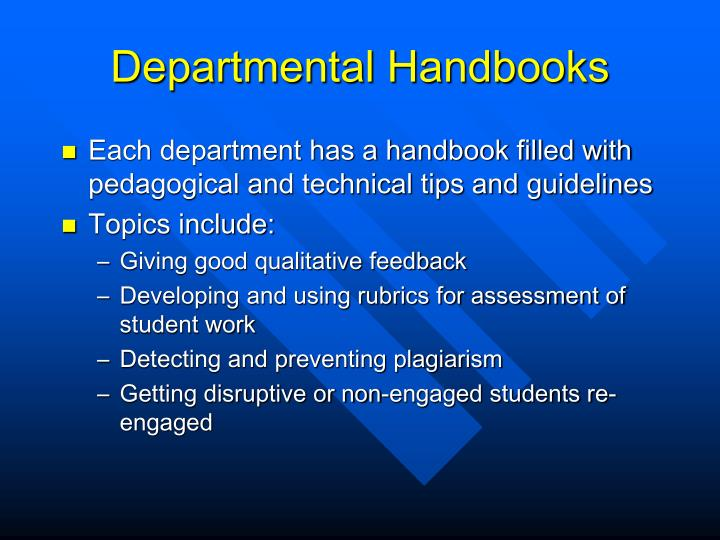 Departmental Handbooks