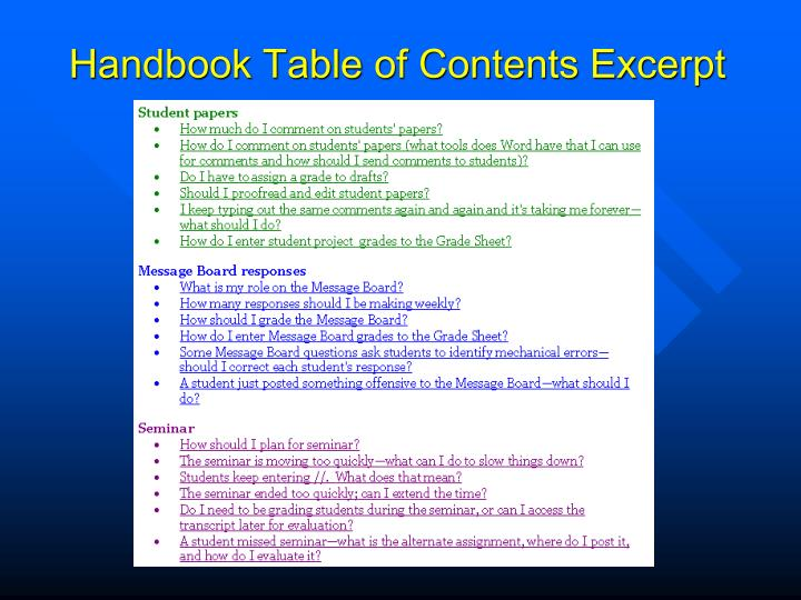 Handbook Table of Contents Excerpt