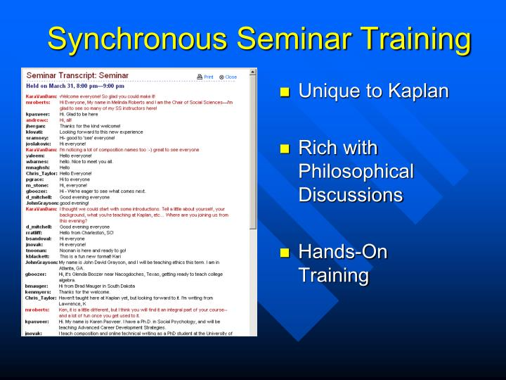 Synchronous Seminar Training