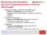 monitoring and evaluation up front in planning process not as an afterthought