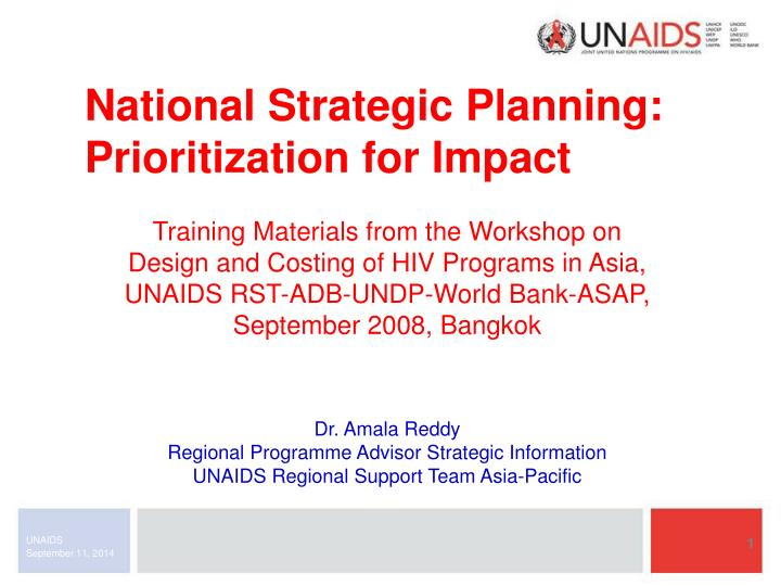 national strategic planning prioritization for impact n.