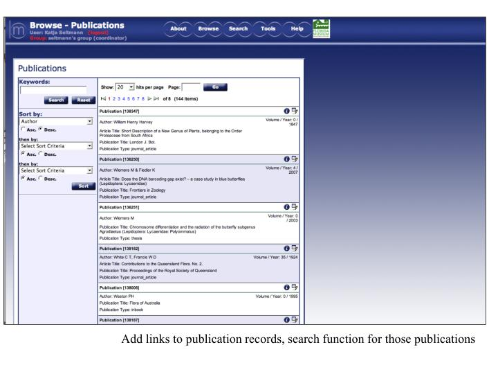 Add links to publication records, search function for those publications