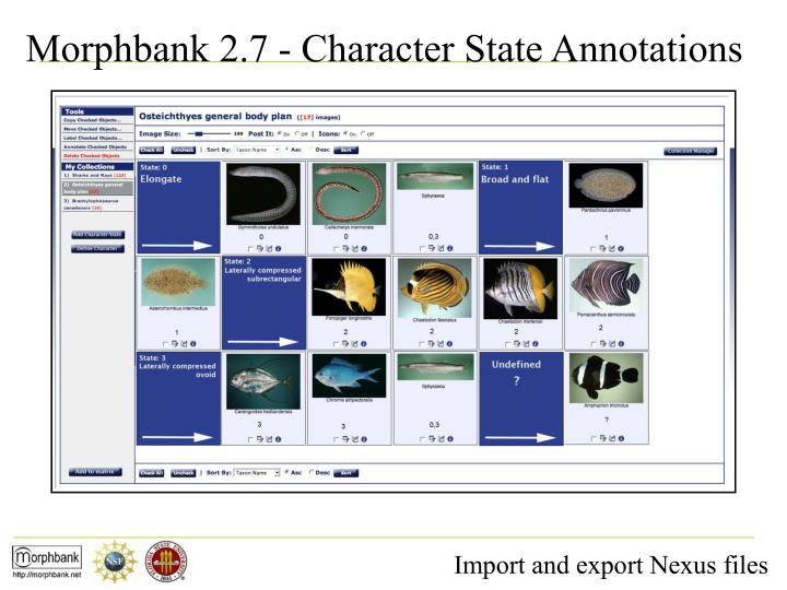 Morphbank 2.7 - Character State Annotations