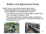 buffers and agricultural areas