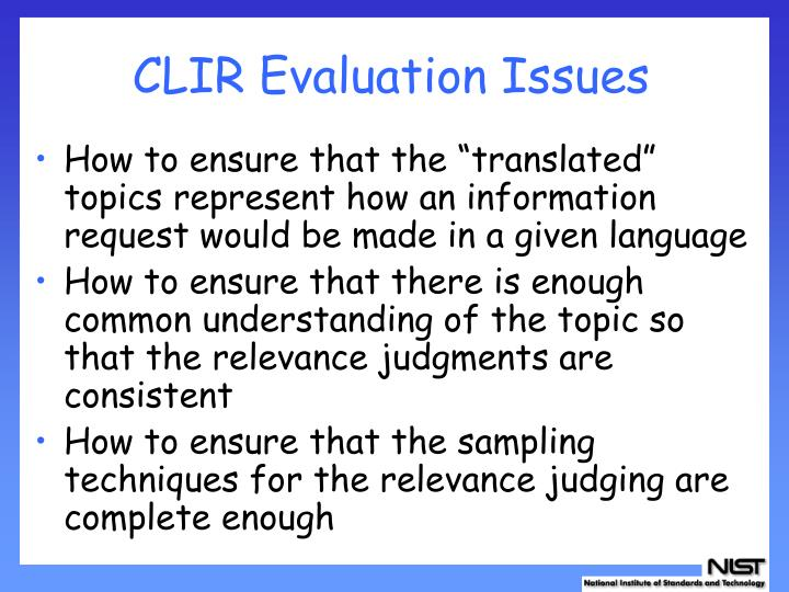 CLIR Evaluation Issues
