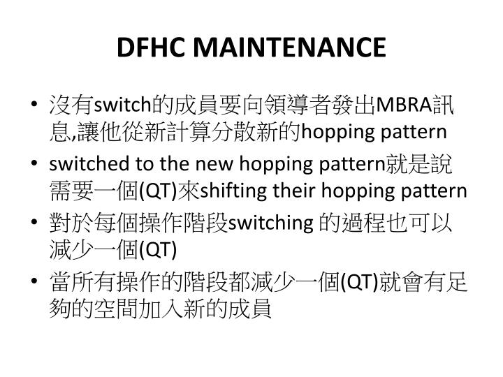 DFHC MAINTENANCE