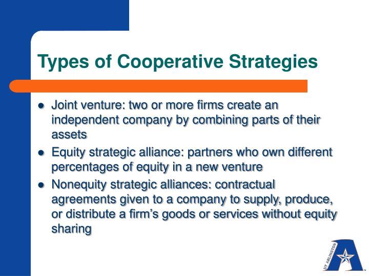 Types of Cooperative Strategies