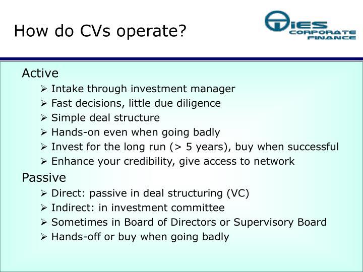 How do CVs operate?
