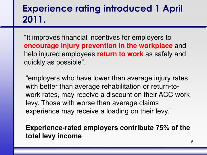 Experience rating introduced 1 April 2011.