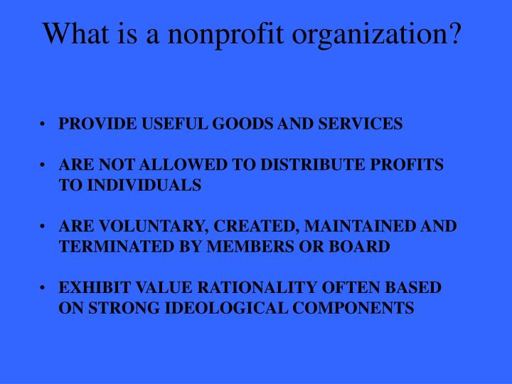 what is a nonprofit organization n.