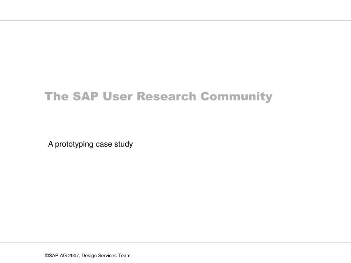 The sap user research community