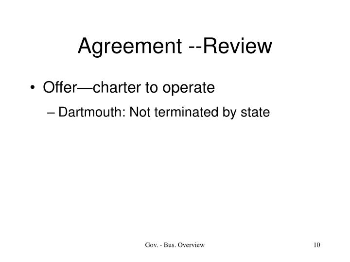 Agreement --Review