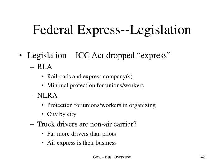 Federal Express--Legislation