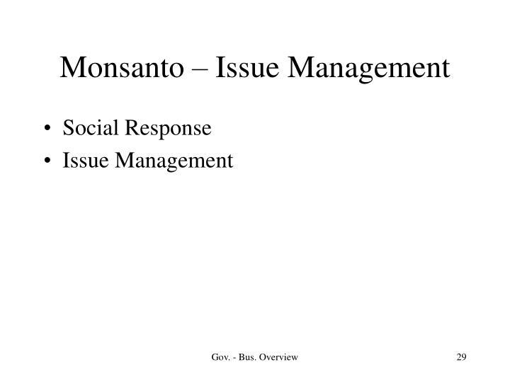 Monsanto – Issue Management