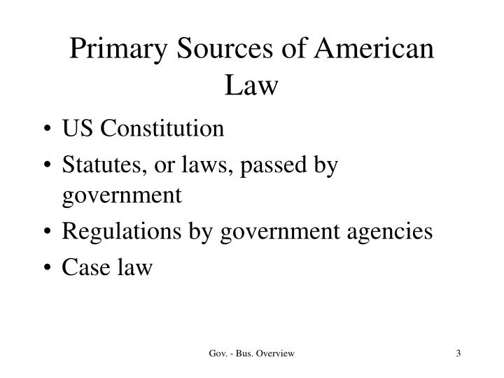 Primary sources of american law