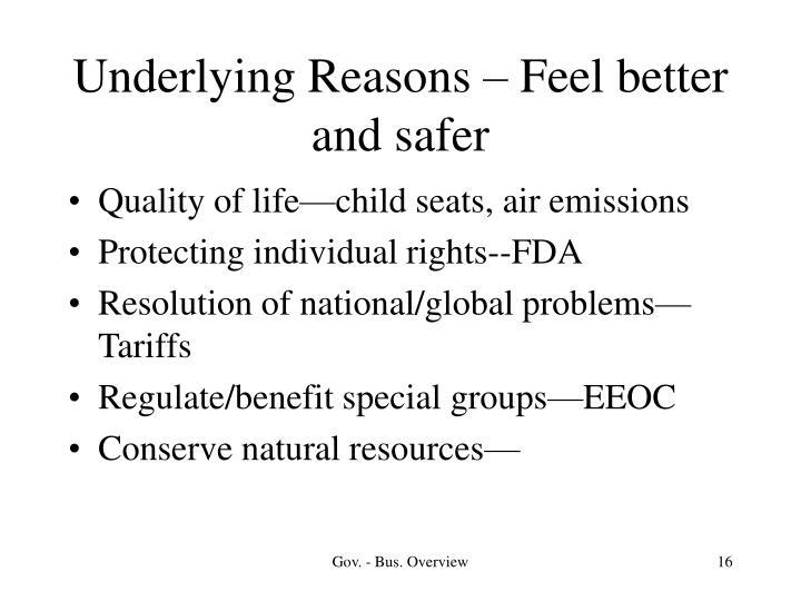 Underlying Reasons – Feel better and safer