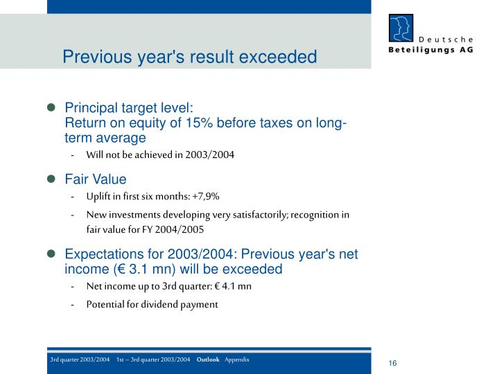 Previous year's result exceeded