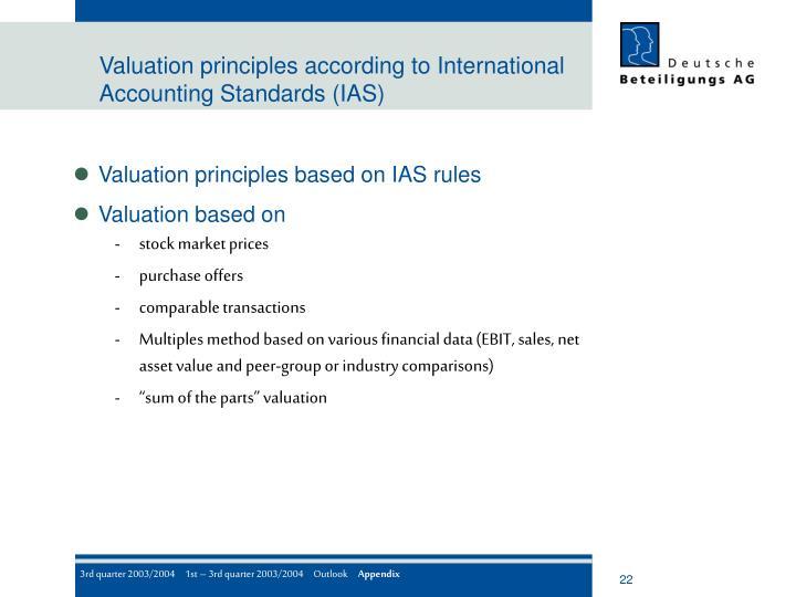 Valuation principles according to International Accounting Standards (IAS)