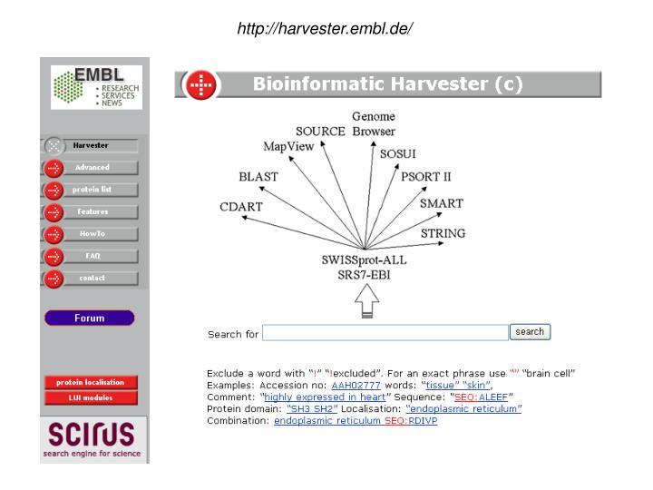 http://harvester.embl.de/