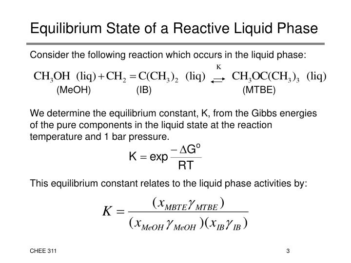 Equilibrium state of a reactive liquid phase2