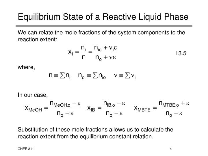 Equilibrium State of a Reactive Liquid Phase