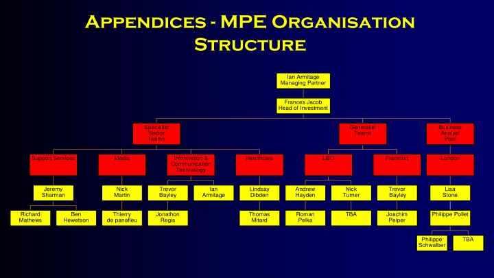 Appendices - MPE Organisation Structure
