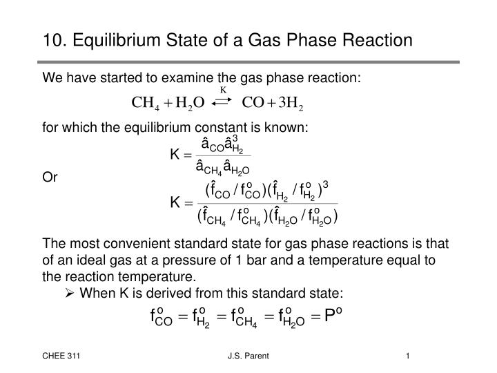 10 equilibrium state of a gas phase reaction