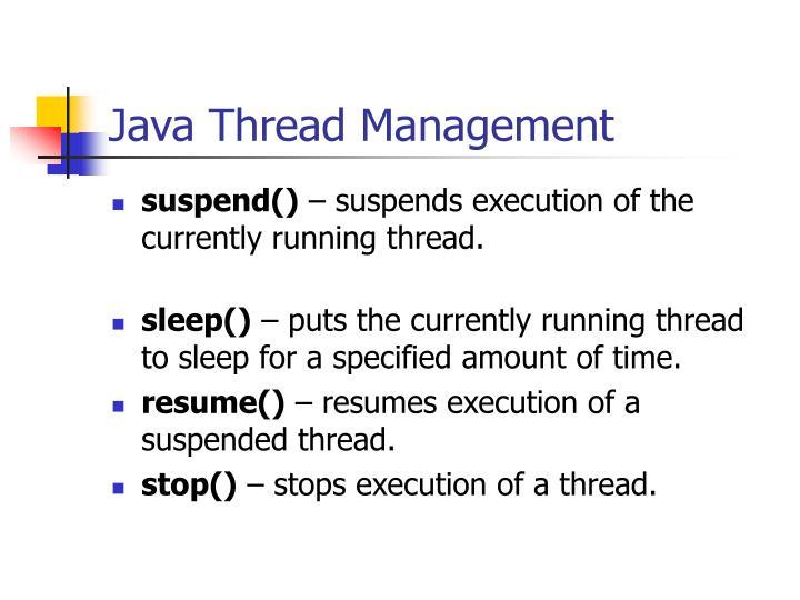 Java Thread Management