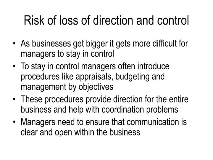 Risk of loss of direction and control