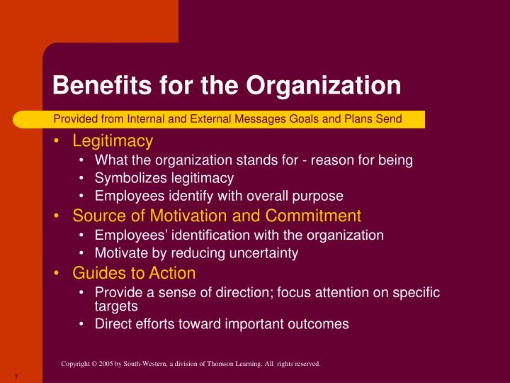 Benefits for the Organization