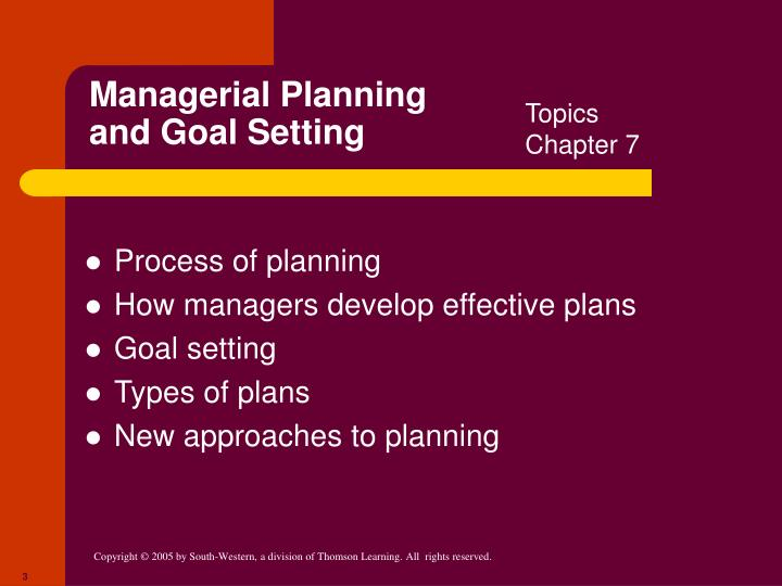 Managerial planning and goal setting1