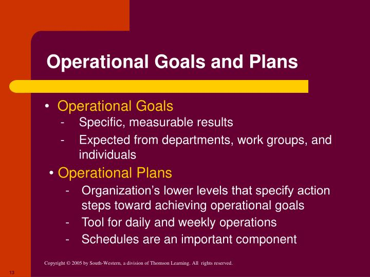 Operational Goals and Plans