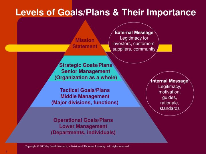 Levels of Goals/Plans & Their Importance