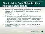 check list for your club s ability to address future trends