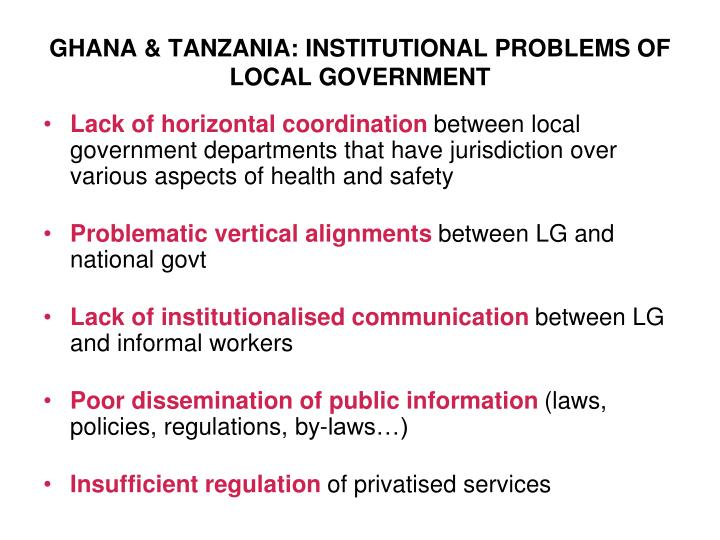 GHANA & TANZANIA: INSTITUTIONAL PROBLEMS OF LOCAL GOVERNMENT