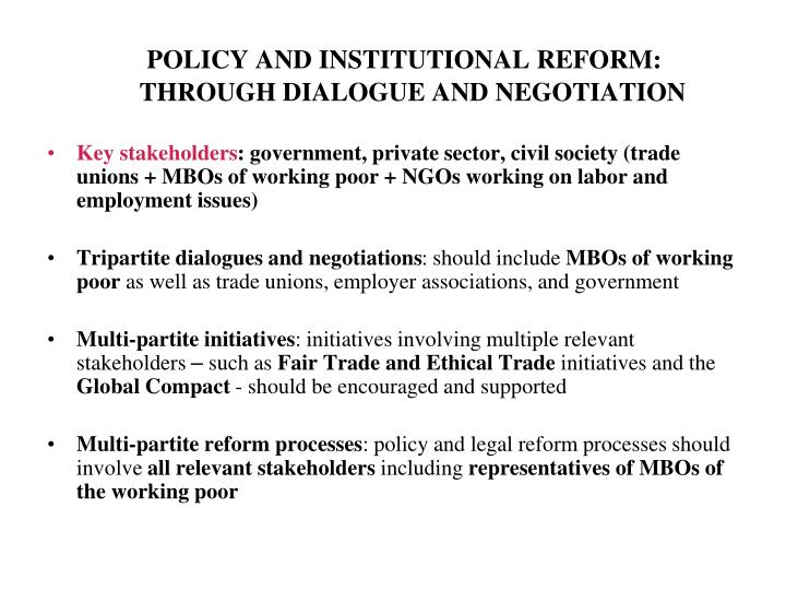 POLICY AND INSTITUTIONAL REFORM: