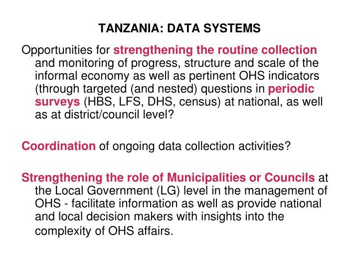 TANZANIA: DATA SYSTEMS