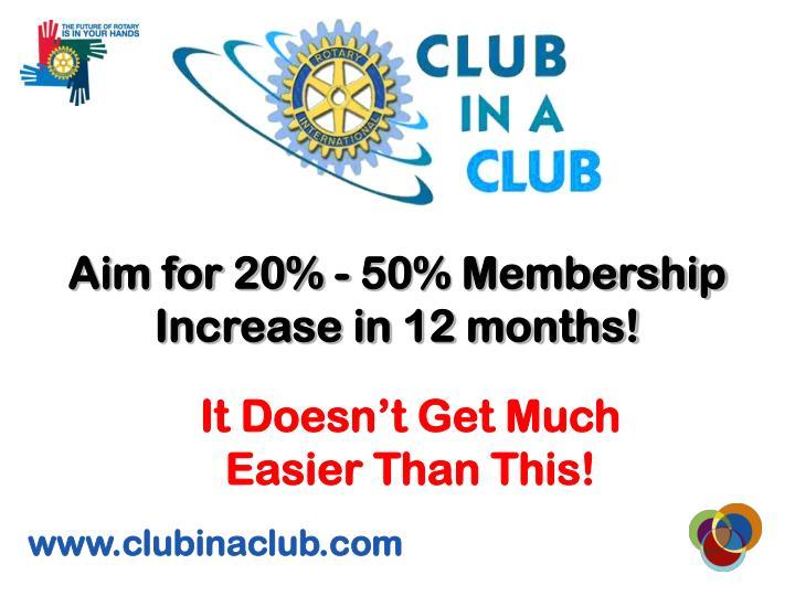 Aim for 20% - 50% Membership Increase in 12 months!