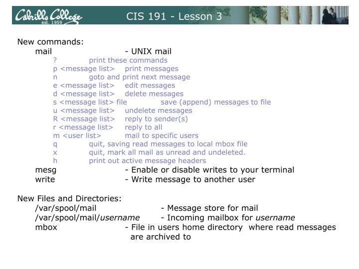 CIS 191 - Lesson 3