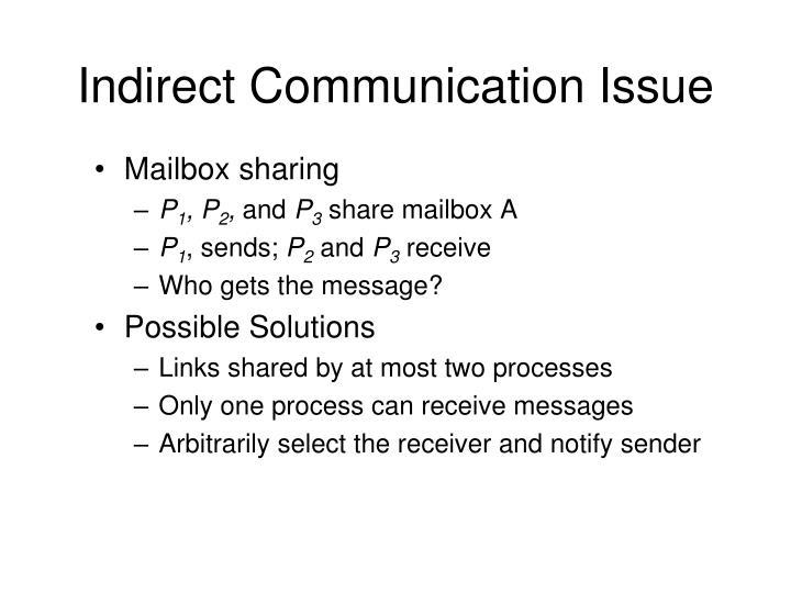Indirect Communication Issue