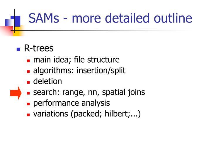 SAMs - more detailed outline