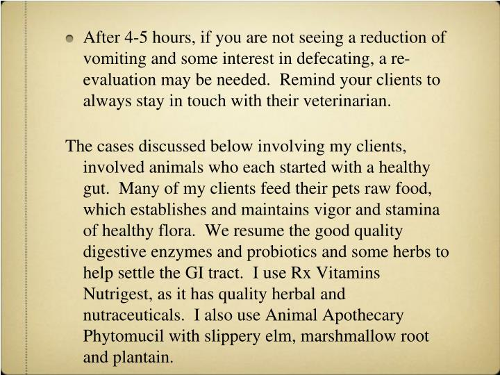 After 4-5 hours, if you are not seeing a reduction of vomiting and some interest in defecating, a re-evaluation may be needed.  Remind your clients to always stay in touch with their veterinarian.