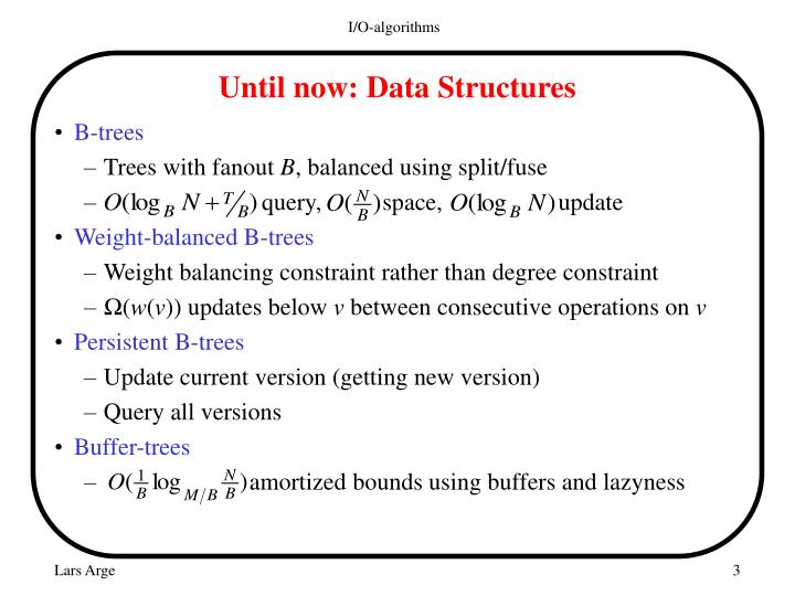 Until now data structures