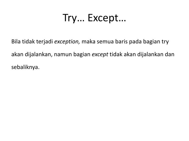 Try except