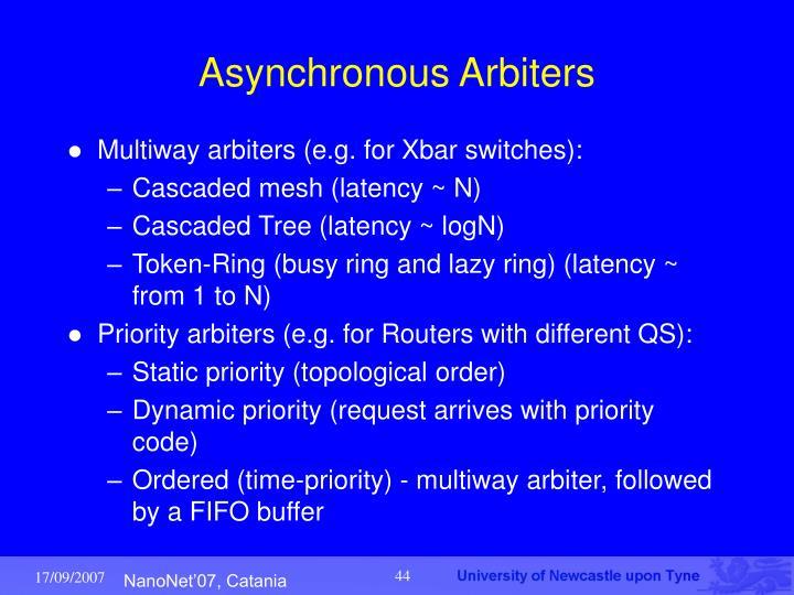 Asynchronous Arbiters