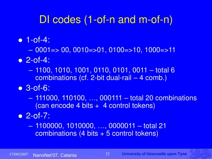 DI codes (1-of-n and m-of-n)